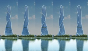 A rendering of a future Dynamic Tower going up in Moscow